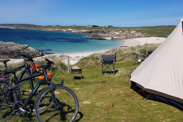 The Machair habitat and the stunning coast at Clifden Eco Beach Camping & Caravanning Park.